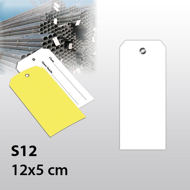 Hängeetiketten aus PVC 200my mit Öse, 120 x 50 mm, einzeln geschnitten, 100 Stück
