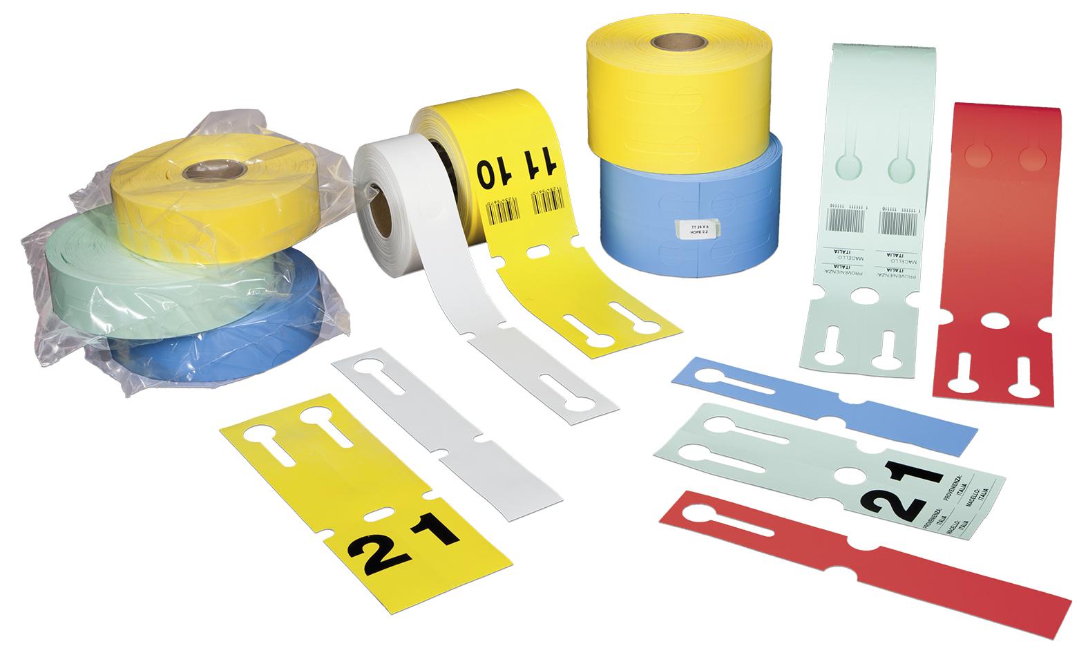 Schlaufenetiketten aus HDPE 150 µ,  50 mm x 260 mm, ohne Kleber, 50 mm Kern, 500 Etiketten je Rolle, gestanzt, lebensmittelecht