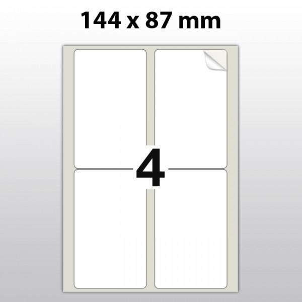 Klebeetiketten aus PET Folie, A4, 87 x 144, weiß matt, 100 Blatt pro Packung