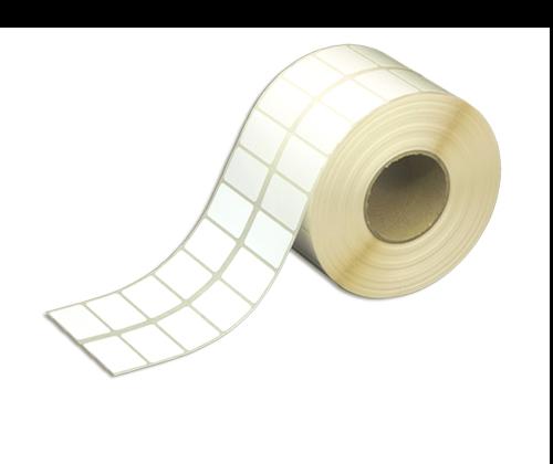 Klebeetiketten aus HDPE Folie, 40 x 24 mm, 50 mm Kern, extra stark haftend, 2-bahnig, 3.500 Etiketten je Rolle