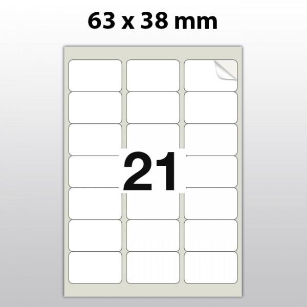Klebeetiketten aus PET Folie, A4, 63 x 38 mm, weiß matt, 100 Blatt pro Packung
