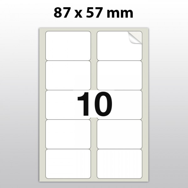 Klebeetiketten aus PET Folie, A4, 87 x 57 mm, weiß matt, 100 Blatt pro Packung